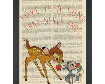 Bambi thumper Love is a Song Dictionary Art Print