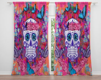 Day of The Dead Window Curtains , Sugar Skull, Home  Decor ,Miss Candace