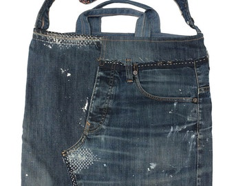 Self catering in unique handbag with zip, made from old but beautiful worn jeans.
