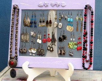 JEWELRY DISPLAY On A Stand / Purple Shabby Chic / 25 - 40 Earrings / 6-10 Necklaces
