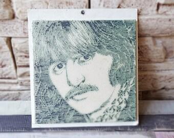 Vintage The Beatles Ceramic Tile Wall Tile Ringo Starr Souvenir The Beatles Collectible Wall Art Ceramic Coaster Black and White Original