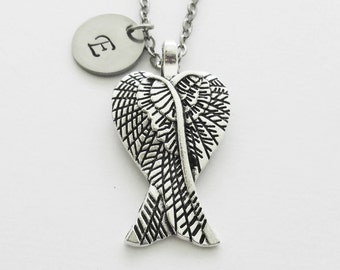 Angel Wings Necklace, Archangel, Religious Christian, Memorial Gift, Silver Jewelry, Personalized, Monogram, Hand Stamped Letter Initial