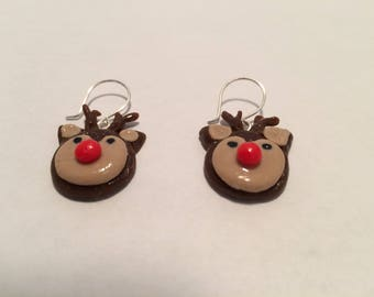 Pair of Handmade Cold Porcelain Reindeer Earrings
