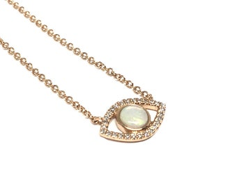 Evil Eye Necklace, Evil Eye Charm, Gold Necklace, Delicate Necklace, Opal Pendant, Fire Opal, Pave Diamond Charm, Made In The USA.