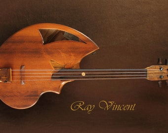 Fretless tenor ukulele. Shell back design by Rays Rootworks. Nautilus, cedar top, beuatiful sound