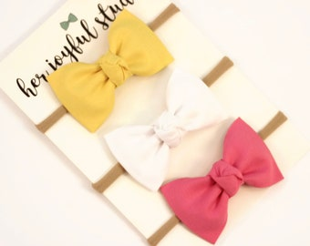 Baby Girl Bows, Newborn Headband, Nylon Headbands, Newborn Bows, Baby Headband Set, Girls Headband, Pink Headband Newborn Headband