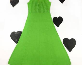 70's St. John Knits bright neon sweater dress 1970's lime lace sheer crochet long hostess maxi gown / sleeveless / rare early designer L XL