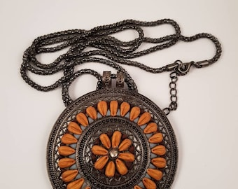 Polymer Clay shield pendant with extra long snake chain.