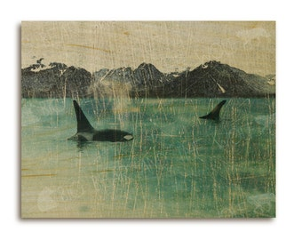 Orca whales art print on wood, mountains / ocean / nature / wildlife art