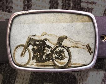 Flying Motorcycle Rollie Free Belt Buckle, Vintage Bike Buckle 528 Gift for Him or Her Husband Wife  Gift Groomsmen Wedding