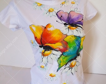 Hand Painted Tshirt, Butterflies T-shirt, BUTTERFLIES Top, Hanpainted TSHIRT, Summer Hand Painted  Butterfly T Shirt, Woman's t shirt