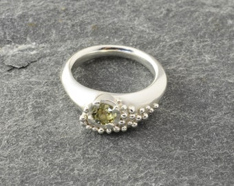 Peridot silver ring. Unique sterling silver ring. Natural green peridot. Beautiful sparkly ring. Statement ring. One of a kind.