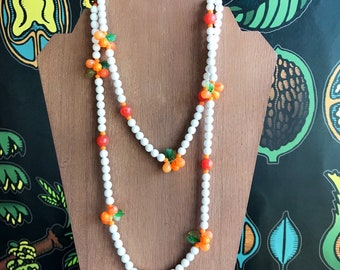 Vintage fruit salad beaded oranges necklace, retro fruit necklace, long costume jewelry, pinup necklace made in Hong Kong