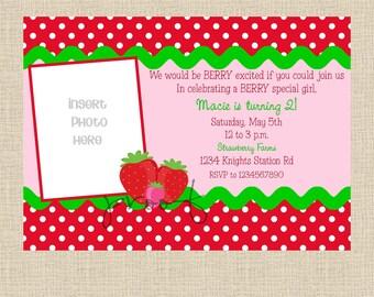 Strawberry Photo Birthday Invitation - Set of 12