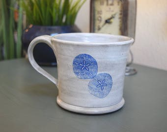 White Mug with Sand Dollars and Sea Star + FREE Shipping