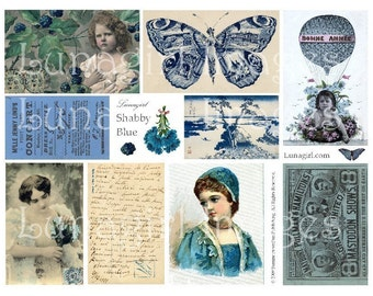 SHABBY BLUE digital collage sheet, vintage images, Victorian postcards, French ephemera, photos altered art, butterfly wings girls, DOWNLOAD