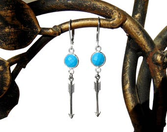 SALE - Arrow Earrings - Sterling Silver Turquoise and Arrow Earrings