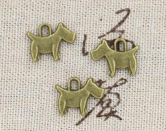 12 Scottish Terrier Dog Charm Pendant 15mm x 12mm - Antique Bronze Tone - Jewelry Making