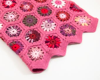 Crocheted Hexagon Baby Blanket - Pink with Colorful Vibrant Motifs, Granny square Blanket, Granny Hexagon Blanket, Lap Blanket.