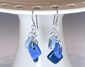 Sterling Silver and Porcelain Earrings, Blue Ceramic Earrings, Blue Dangle Earrings, Surgical Steel Ear Wires, Blue Ceramic Jewelry