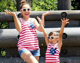 Stripped, 4th of july, july 4th tank, fourth of july shirt women, 4th of july shirt, july 4th baby, 4th of july tank top, mother daughter