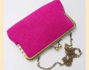 shoulder bag, Harris Tweed clutch bag, pink purse, tweed clutch, pink clutch bag, Harris Tweed clutch purse