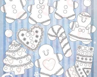 Christmas digital stamps, Gingerbread Digital Stamps, Christmas Stamps, coloring page, black and white line,Christmas cookie stamp, AMB-1507