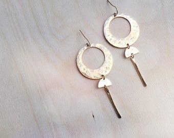 ECLIPSE Earrings // Brass Circle + Half Moon Pendulums