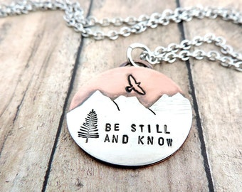 Be Still and Know Mountain Necklace - Christian Jewelry - Bible Verse Necklace - Psalm 46 - Inspirational Nature Jewelry - Mixed Metal