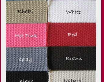 1.25 Inch Heavyweight Cotton Webbing- 5 yds- You choose the colors- Great for making key fobs, belts, purse straps