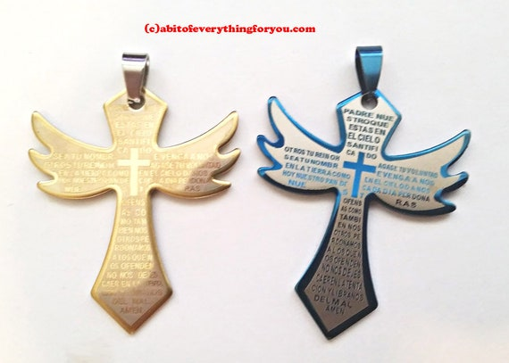 2 stainless steel metal cross pendants charms lords prayer 30x50mm blue gold