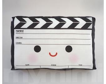 """Decorative Pillow, Movie Pillow, Film Pillow, Movie Clapper, Black White, Drama, Throw Pillow, Kawaii, Cushion, Room Decor, Toys, 9 x 6"""""""