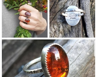 Beautiful Natural Amber Handcrafted Silver Ring US Size 5
