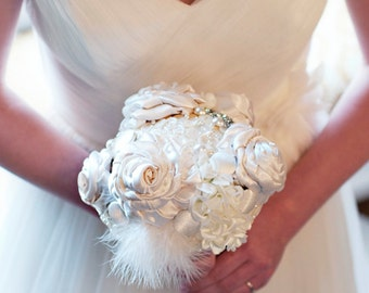Pearly Goddess Satin and Button Bouquet