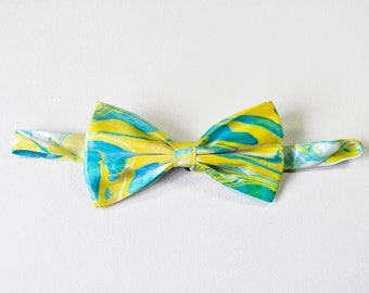 Yellow and Green Marbled Bow Tie