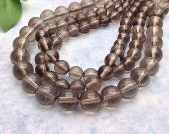 Smoky quartz beads, 6, 8, 10 mm.  Semiprecious beads, gemstone beads, jewelry supply, jewelry making