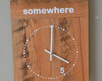 Reclaimed Wood Clock  13x16