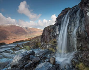 Waterfall at Conor Pass, Dingle Peninsula, County Kerry.