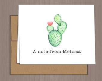 Cactus Note Card, Cactus Thank You Notes, Folded Note Cards, Cactus Thank You Notes, Wedding Thank You, Personalized Stationery, Cactus
