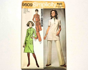 Simplicity Vintage Sewing Pattern 9509 Size 12 Misses Dress or Tunic and Pants