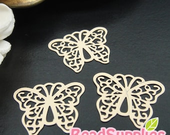 CH-ME-10136D- Color enameled,  Filigree butterfly computer-cut plate, beige, 4 pcs