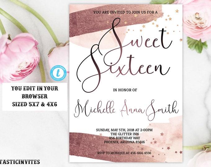 Sweet Sixteen Birthday Invitation, Rose Gold Watercolor Birthday Invitation Template, Instant Download, Editable, Printable, Sweet 16 Invite