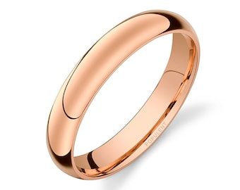 14k Rose Gold Band (4mm) | PLAIN | Polished Rounded Dome + Comfort Fit | Men's Women's Wedding Ring Pink Simple