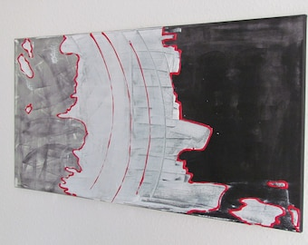 Abstract acrylic painting black and white red 100 x 50 cm