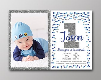 Boy First Birthday Invitation Photo / First Birthday Invitation Photo / First Birthday Invitation Personalized