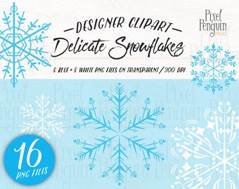 Winter Clipart Bundle, Snowflake Set, Christmas Clip Art, Winter Digital Clipart, Snowflake Clipart, White, Snowy PNG, Intricate, Delicate