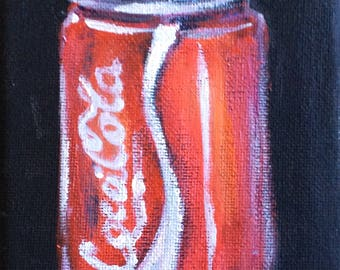 Coca Cola Still Life Art original painting 6'' x 4""