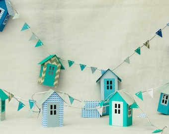 Beach Hut Garland with Bunting  SVG