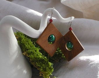 """Briar Burl earrings coral Malachite """"Cubism"""" with silver beads"""