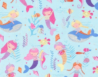 Mermaids -Sea -Timeless Treasures -Mermaid-Cotton Fabric- Quilt- Apparel-WindyRobinCotton- *Sold in Half Yard.